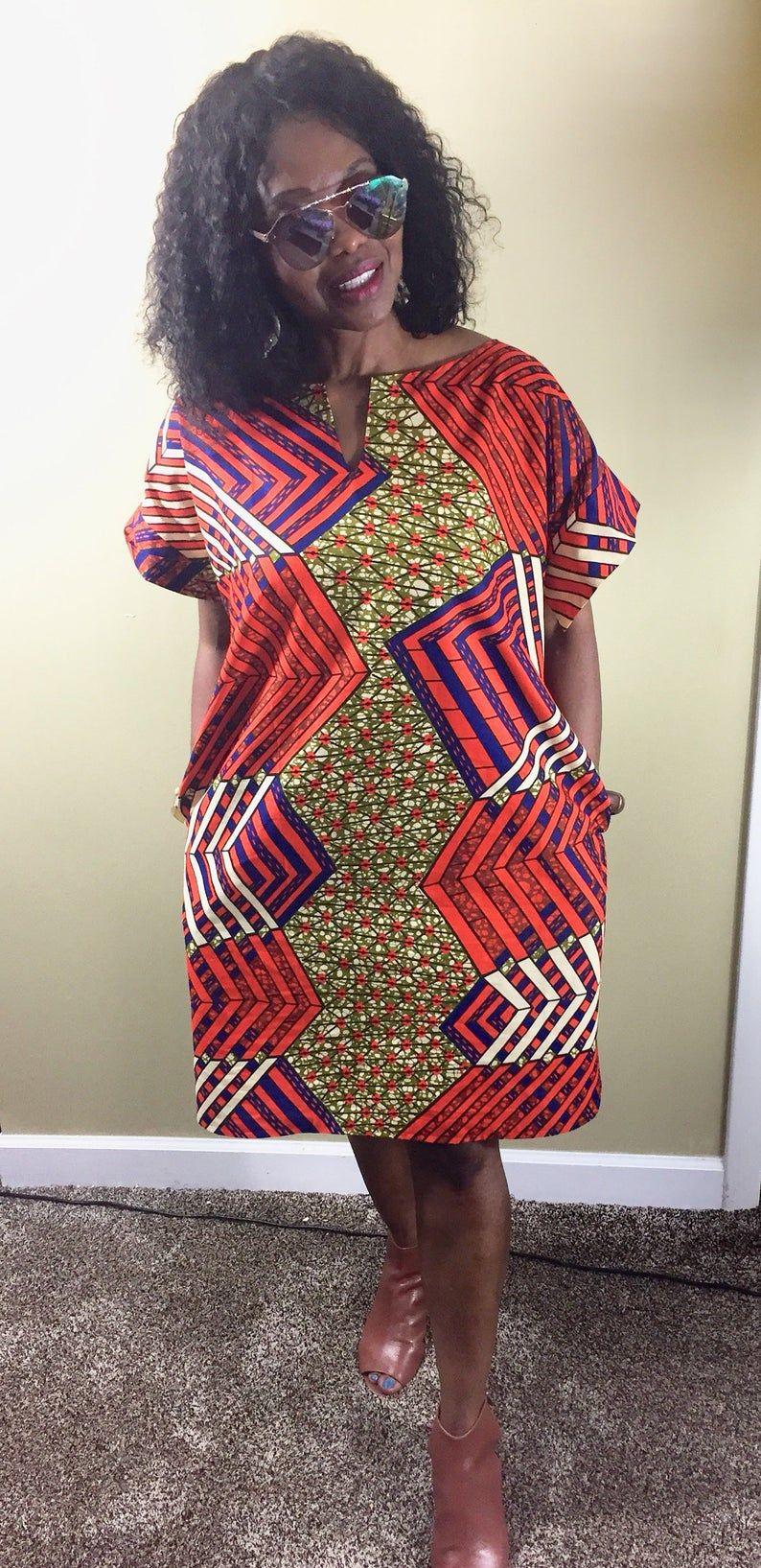 African Shirt Dress For Women African Print Dress Ankara Midi Dress With Pockets Orange Vibrant Summer Dress African Fashion Skirts Latest African Fashion Dresses African Shirt Dress [ 1635 x 794 Pixel ]