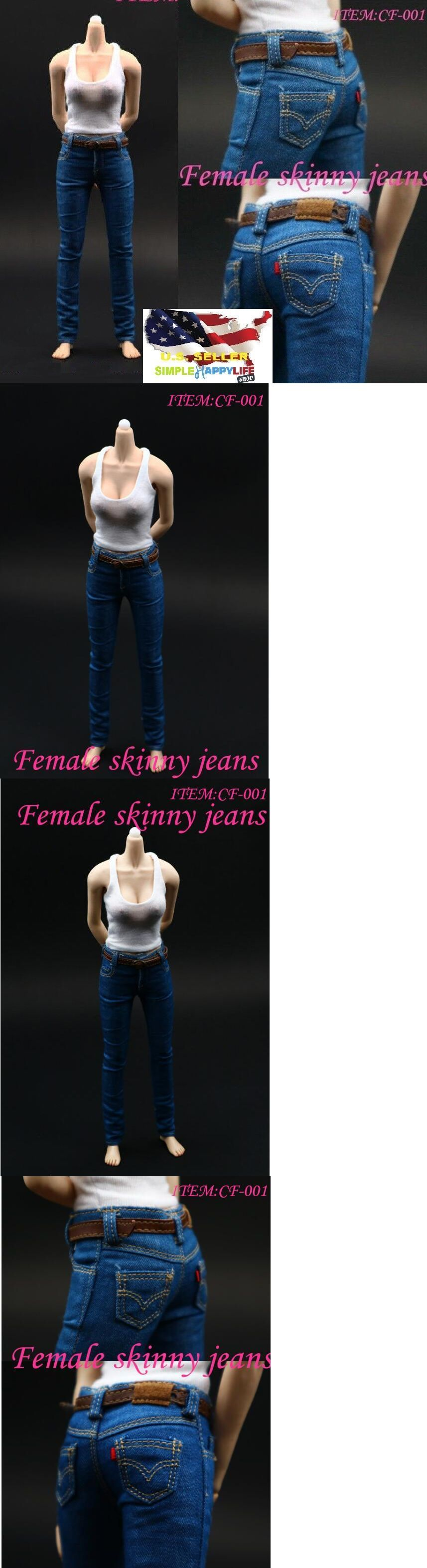 """1//6 Skinny Denim Jeans Pants with Belts For 12/"""" PHICEN Female Figure ❶USA❶"""