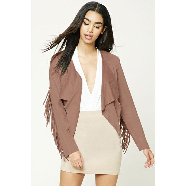 29bf01bdbe2 Forever21 Faux Suede Fringed Jacket ( 20) ❤ liked on Polyvore featuring  outerwear