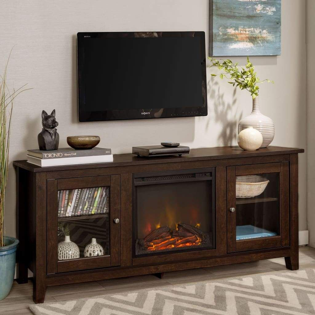 58 wood media tv stand console with fireplace