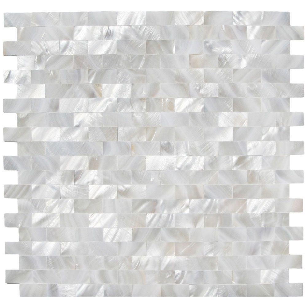 White Brick Groutless Pearl Shell Tile