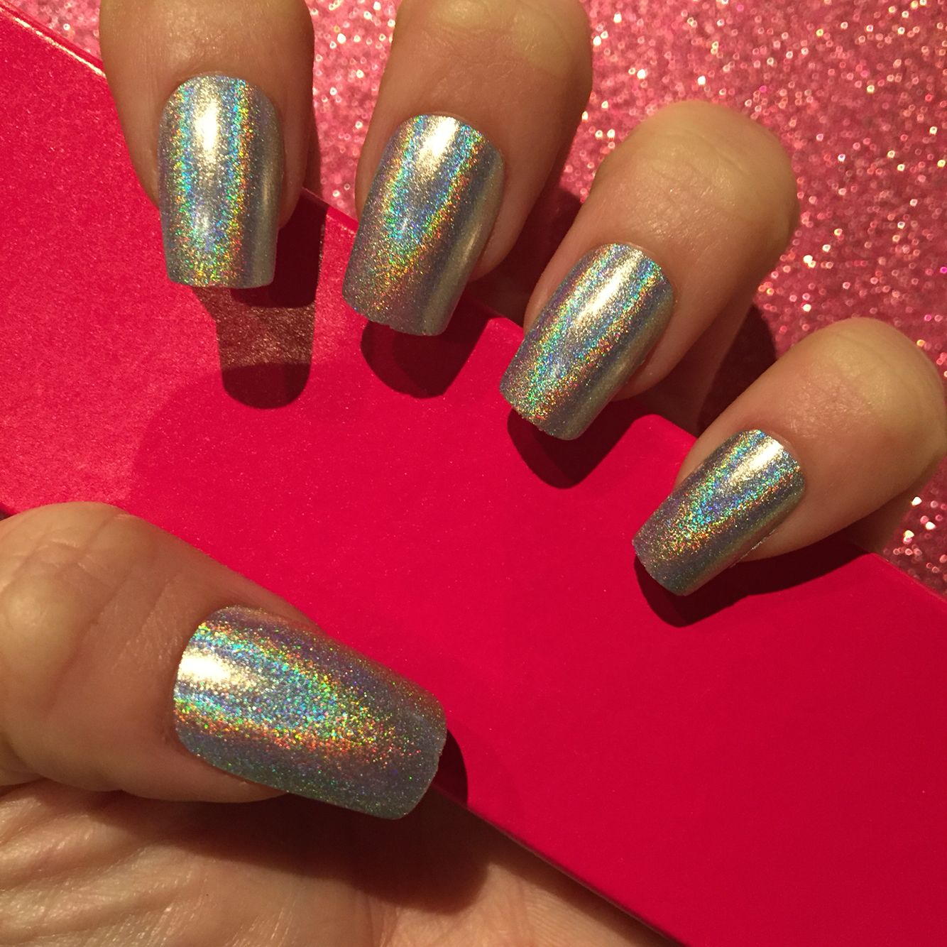 Silver holographic square nails