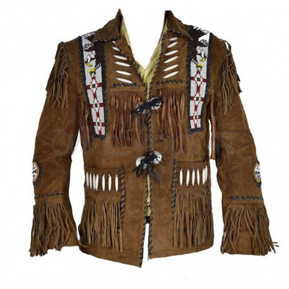 SRHides Mens Western Cow Suede Leather Fringed Jacket