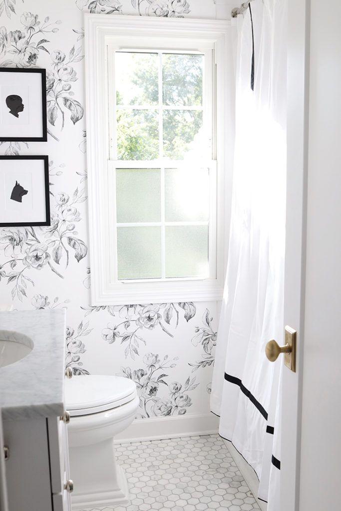A Black and White Floral Bathroom - Danielle Moss