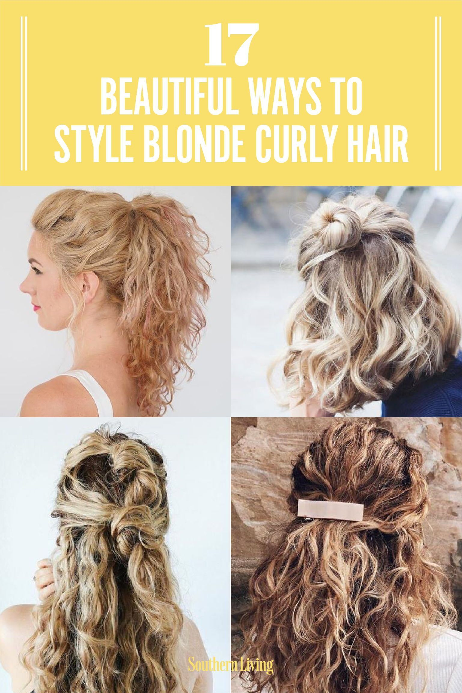 17 Beautiful Ways To Style Blonde Curly Hair In 2020 Curly Hair Styles Easy Curly Hair Styles Naturally Blonde Curly Hair