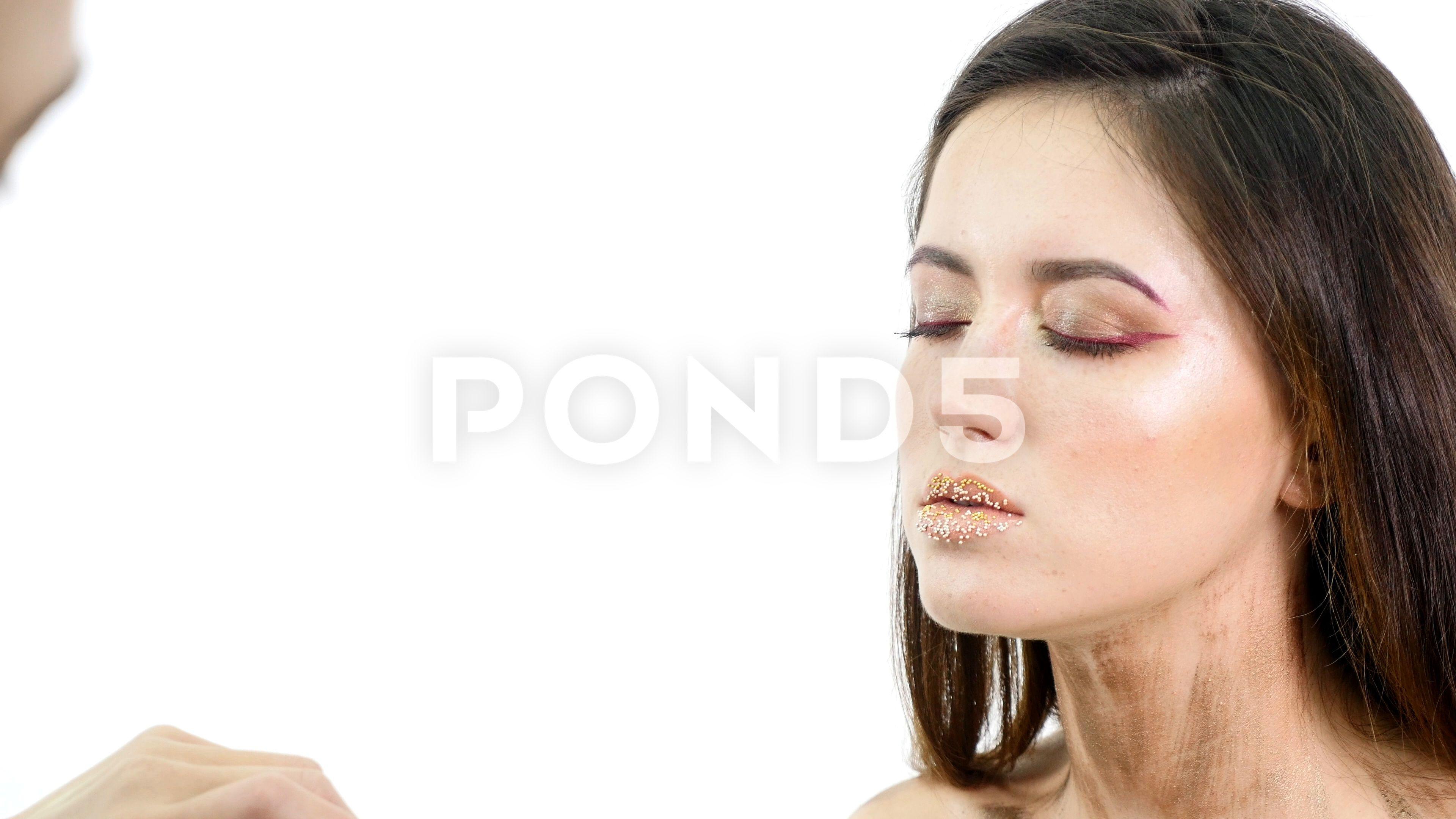 Make Up Artist Applying Eyelash Makeup To Models Eye Close Up View