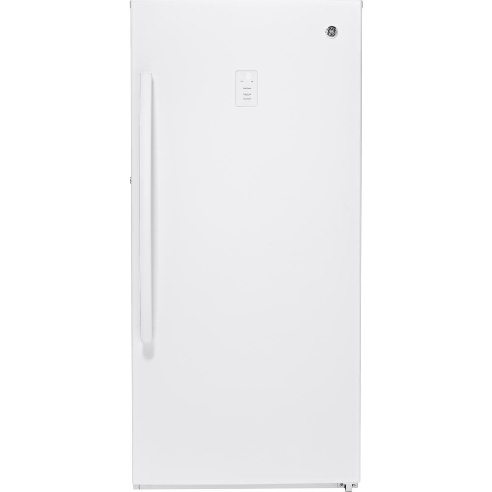 Ge Garage Ready 14 1 Cu Ft Frost Free Upright Freezer In White Energy Star Fuf14dlrww The Home Depot Upright Freezer Cool Things To Buy Freezer