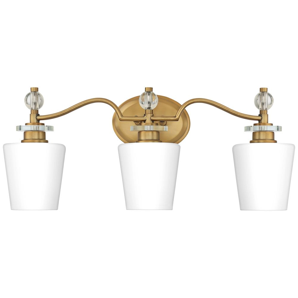 """Photo of Quoizel Hollister 23 """"W 3-light bathroom lamp made of weathered brass – Style # 83G14"""