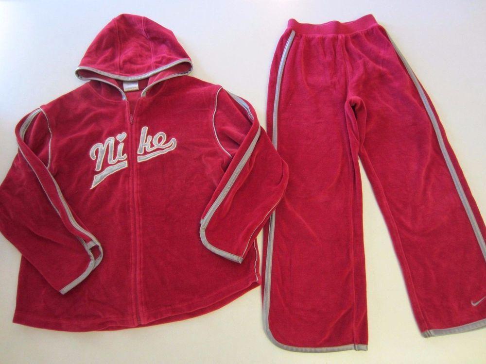 2cb355a9b808 Nike Sweat Suit 6X Raspberry Silver Velour Jacket Hoodie Pants Girl  CLEARANCE  Nike