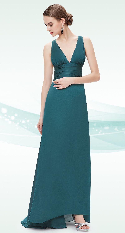Green dress v neck  Elegant Green Sexy Vneck Evening Dress  fashion  Pinterest