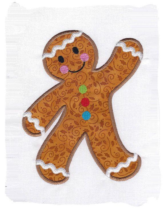 Gingerbread Man Machine Embroidery Applique   Pinterest ...