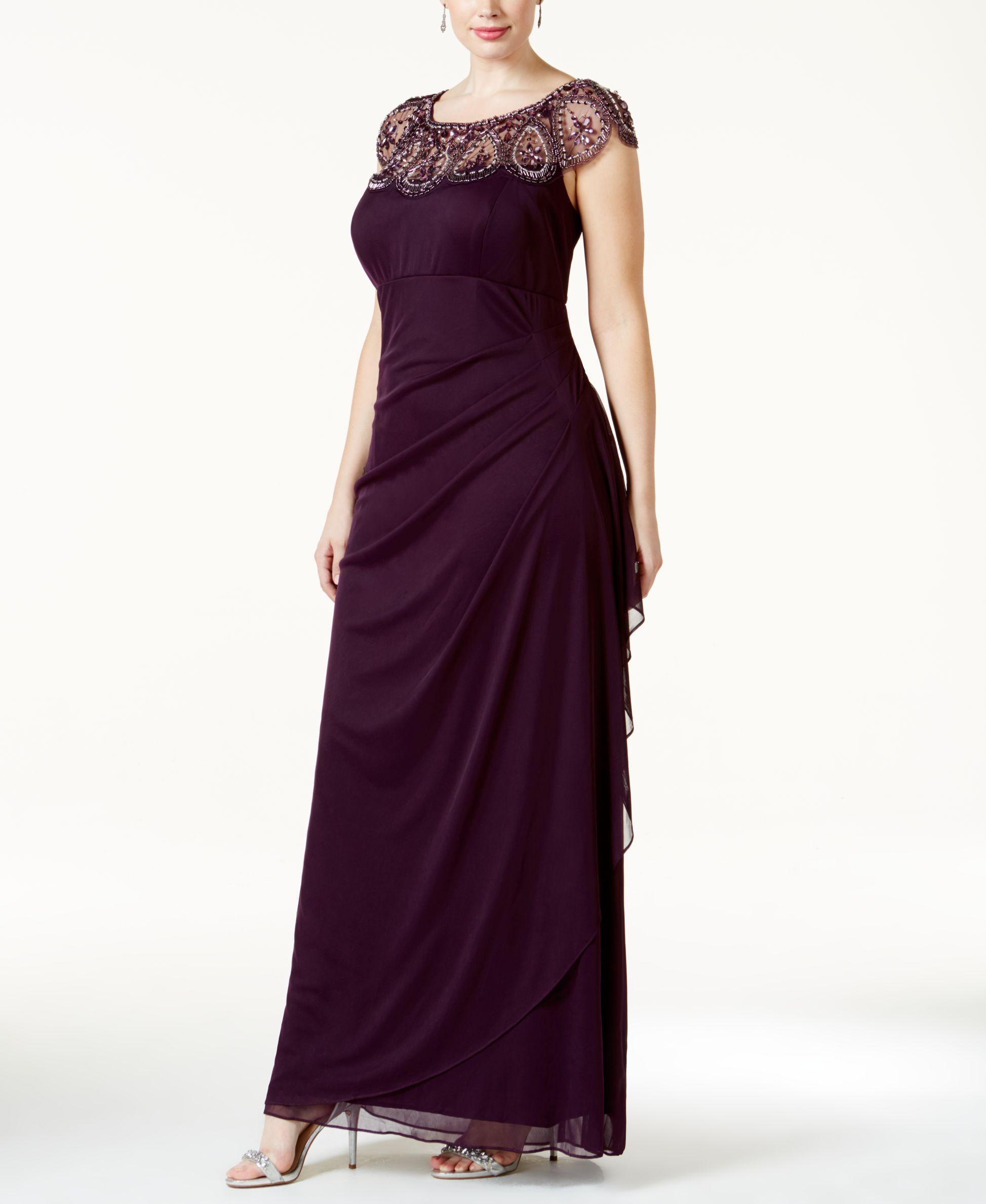 d97504114a0 Xscape Plus Size Illusion Beaded Gown