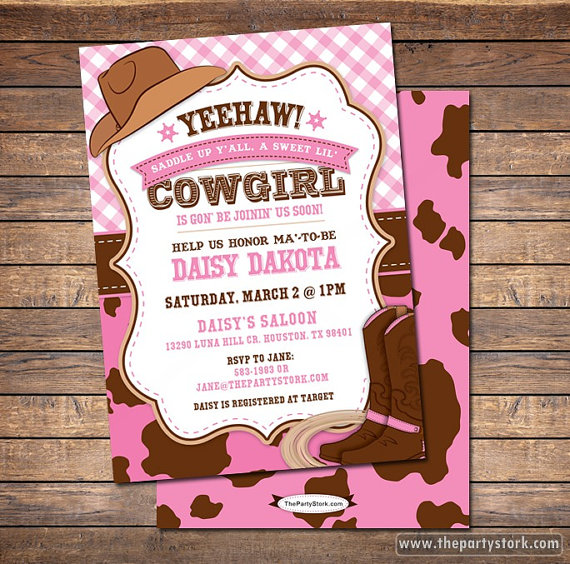 cowgirl baby shower invitation - cowgirl baby shower - western,