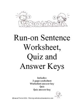Run-on Sentence Worksheets, Quiz and Answer Keys | My ...