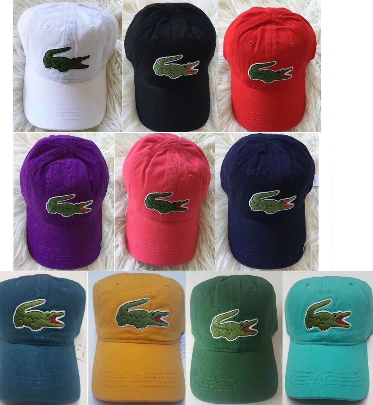 a08d353ce3b Hats 52365  Lacoste Mens Big Croc Gabardine Adjustable Cap Hat