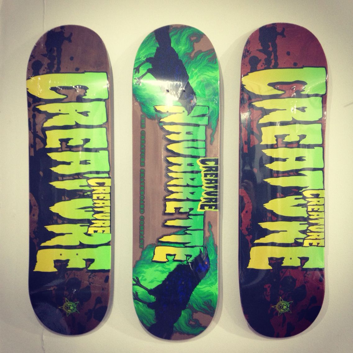 Collection of classic Creature Skateboards Graphics