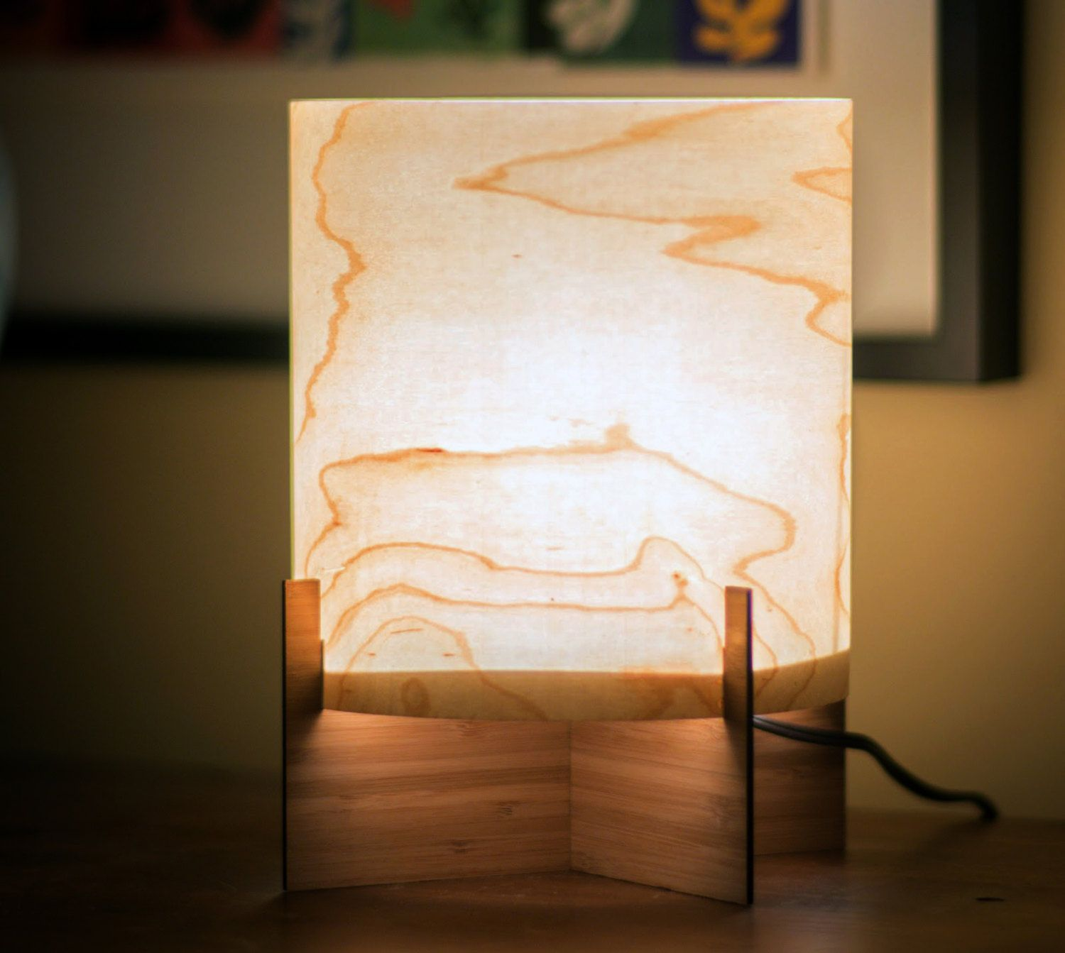 Real wood table lamp modern design in maple veneer bamboo base real wood table lamp modern design in maple veneer bamboo base accent or mood lighting lampshade mozeypictures Gallery