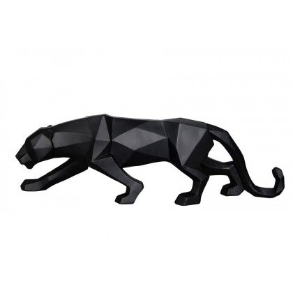Decorative Geometric Figure Panther Black Resin Wollastonite1946