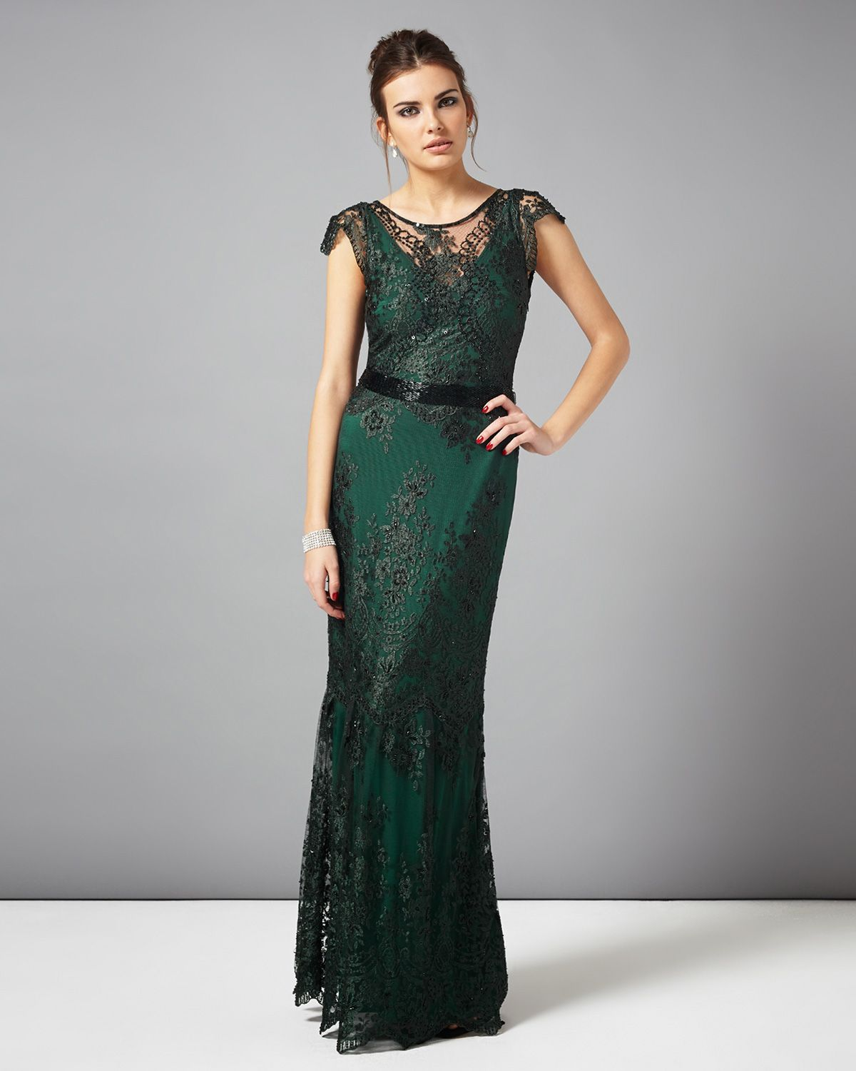 3f2b88dc8614 collection 8 dresses | Green Cindy Lace Full Length Dress | Phase Eight
