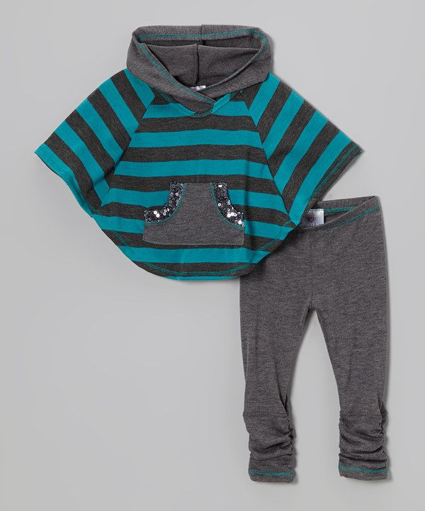 This Heather Gray & Blue Stripe Poncho & Leggings - Toddler & Girls by Freckles + Kitty is perfect! #zulilyfinds
