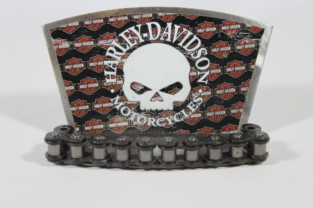 Harley Davidson Metal Business Card Holder Chain Motorcycle Skull ...