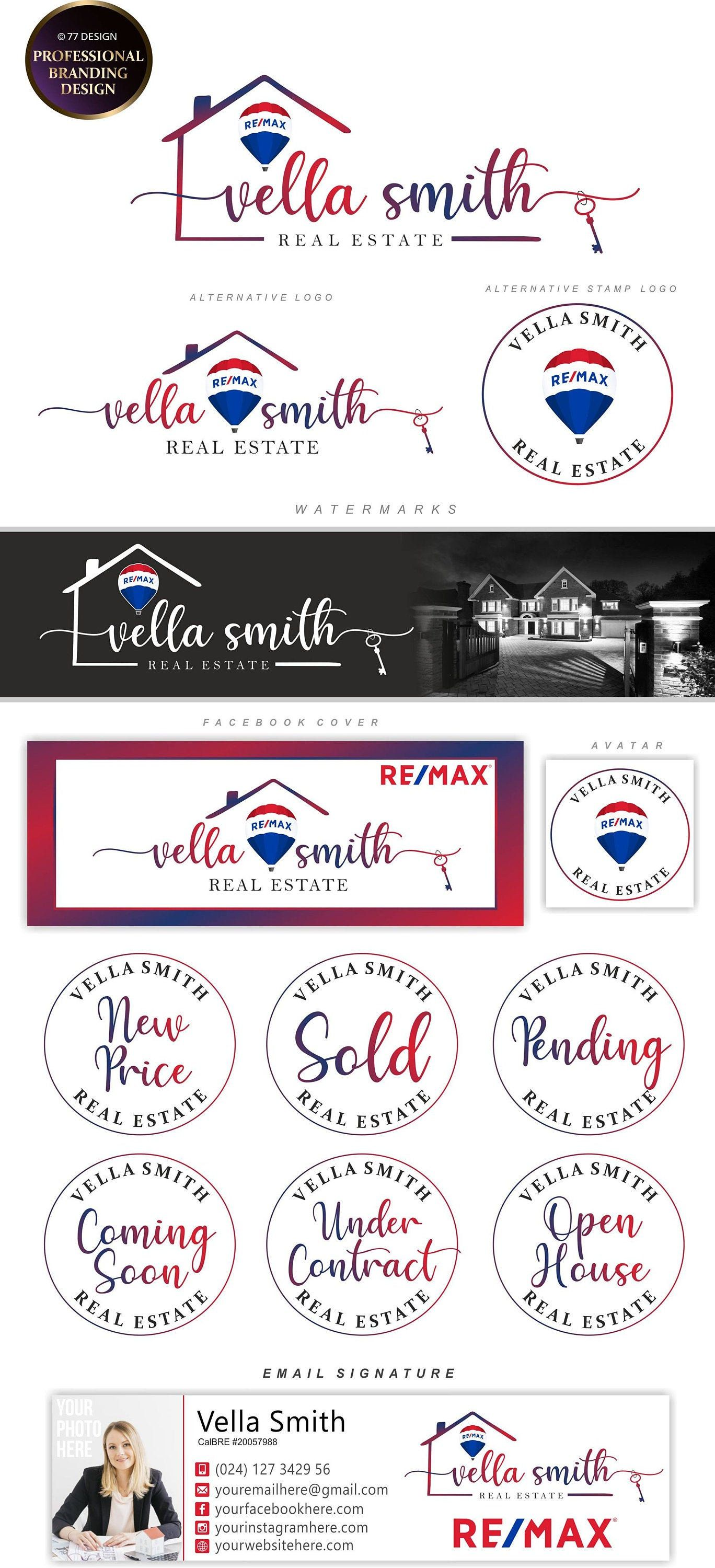 Real Estate logo design, REMAX balloon logo, Branding kit, Realtor logo, Real estate agent marketing stamp House key logo, Broker design 241
