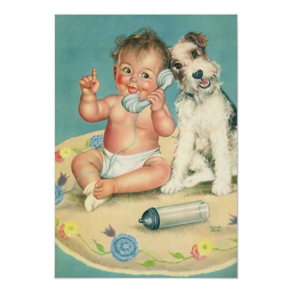 Vintage Cute Baby Talking On Phone Puppy Dog Poster Zazzle Com In 2020 Dog Poster Baby Shower Party Invitations Puppy Baby Shower