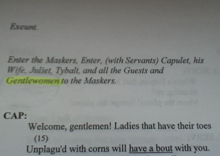 I was reading Romeo and Juliet for class and... GENTLEWOMEN- it is a real thing James!