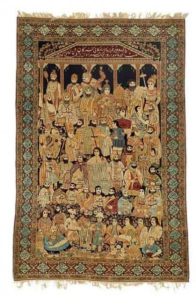 "An historical antique Kerman Lavar rug, South central Persia. ""The Leaders Of The World"" pictorial rug. Late 19th century. 238 x 154 cm. Bruun Rasmussen November auction including carpets in Copenhagen"