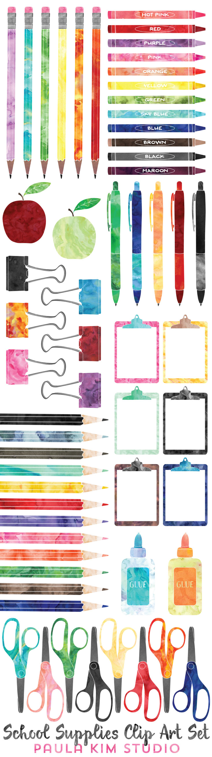 School supplies clip art clip art school and branding ideas beautiful watercolor clip art set of school supplies educational commercial use allowed you can voltagebd Image collections