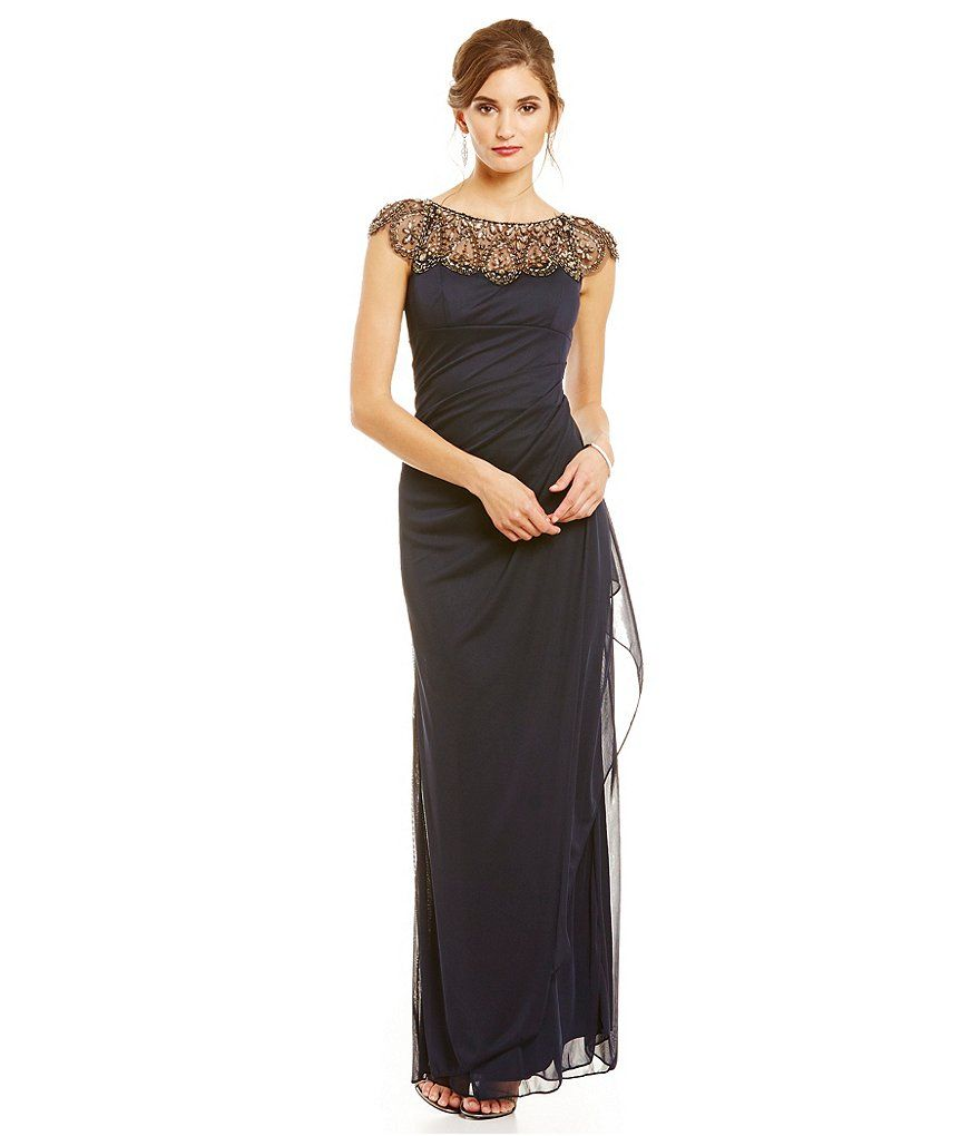 6241f7048dc Antique Navy Xscape Beaded Illusion Neck Ruched Gown
