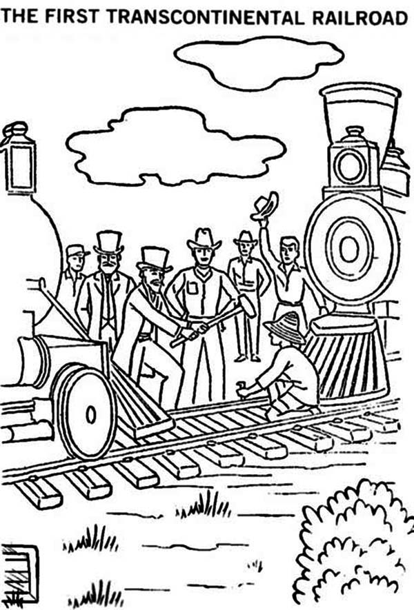Railroad The First Transcontinental Railroad Coloring Page The