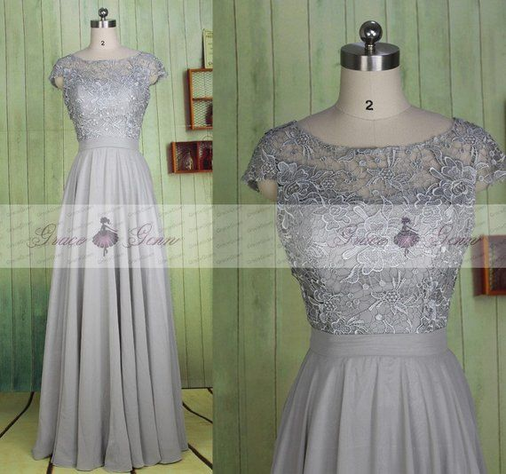 c952660f2ecc Grey Bridesmaid Dresses,Long Lace Chiffon Simple Wedding Dress,Cap Sleeve  Prom Gown,Mother Of The Br