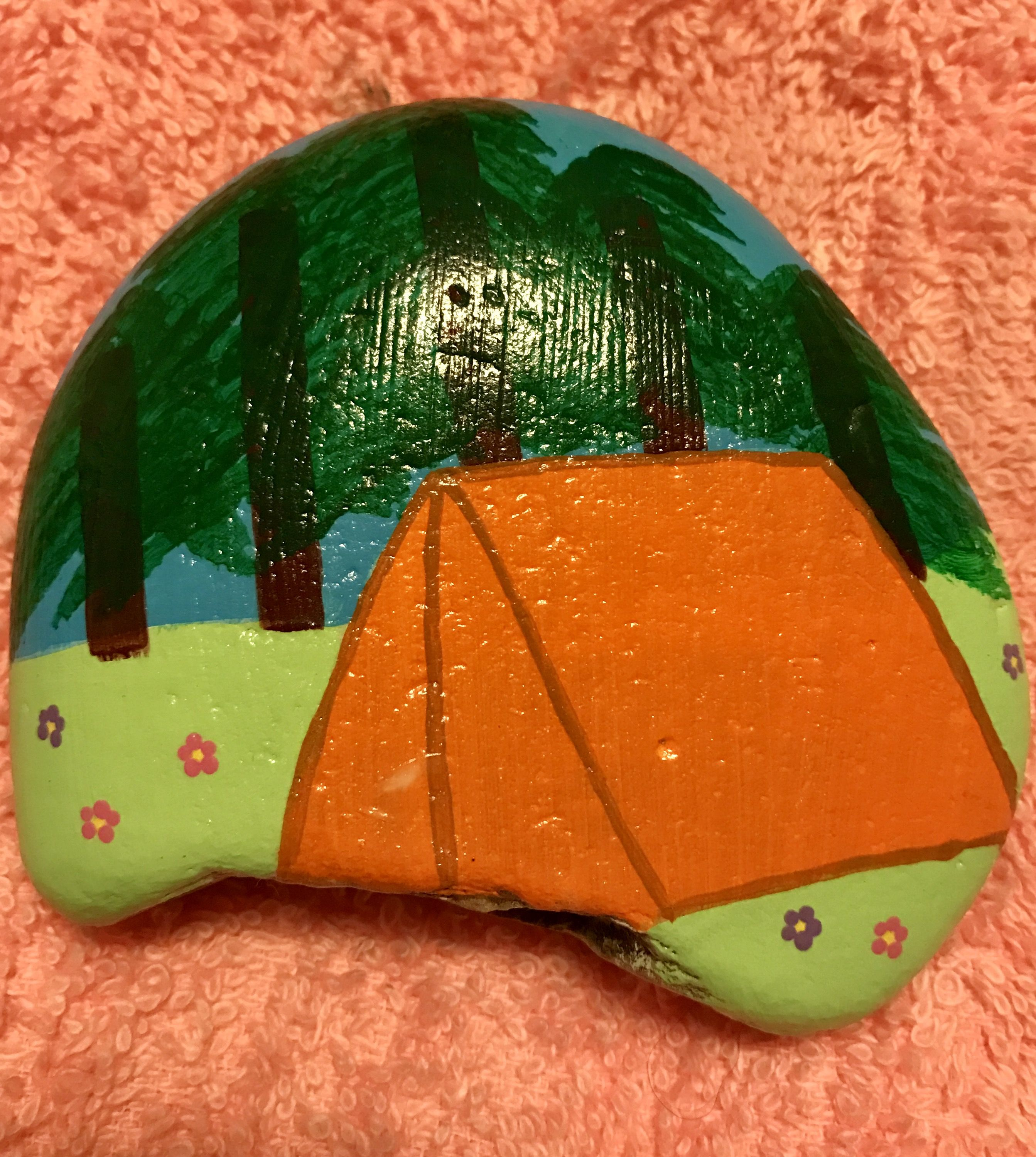 Painted Rock Camping Tent Outdoors Remusrocks With Images