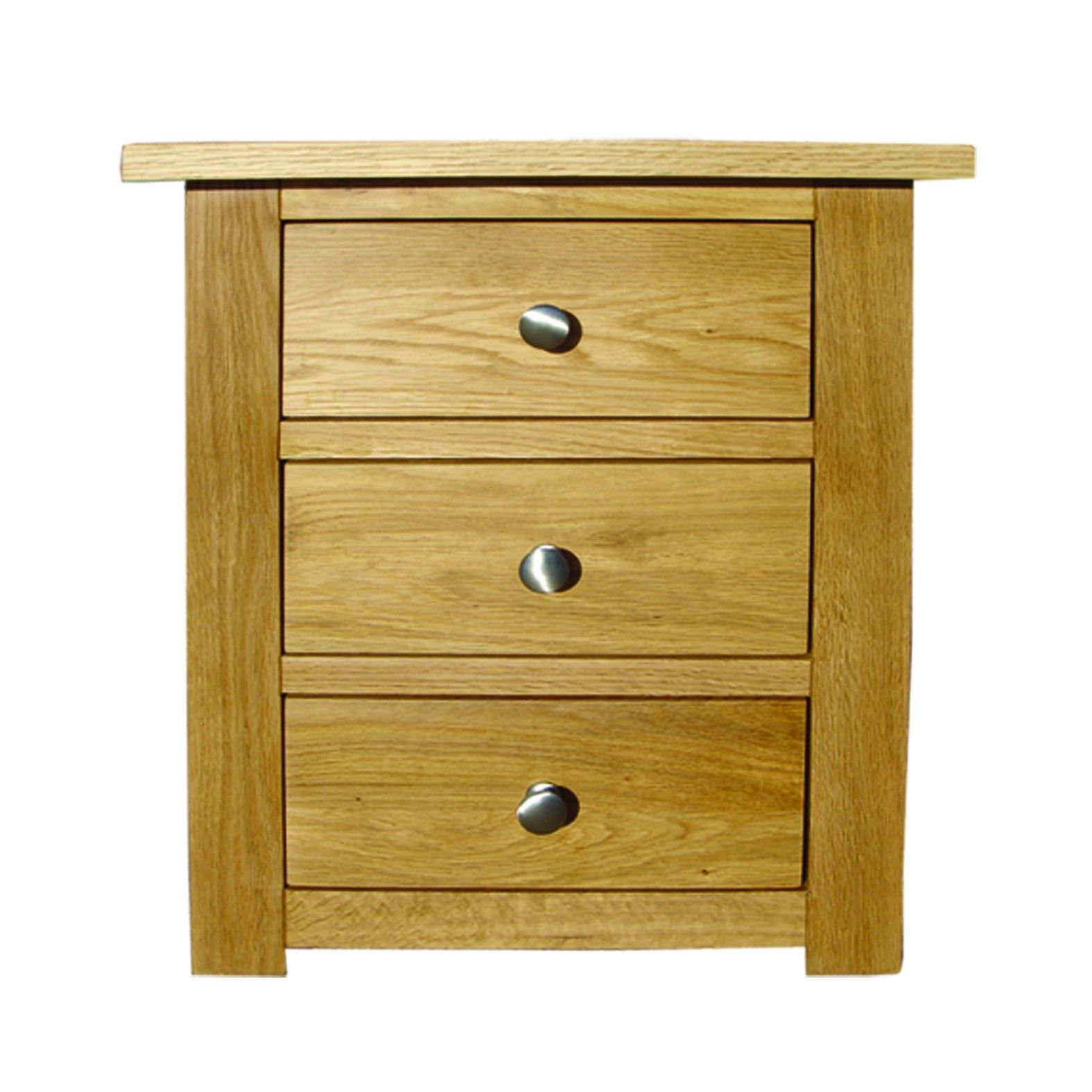 Stylish solid oak bedside table with 3 drawers. The simple yet elegant looking design also displays a touch of class and although simplistic in design it doesn't fail to please the eye and is very aesthetically pleasing.
