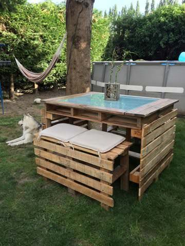 Table Et Bancs De Jardin En Palettes Pallet Garden Table And Bench Avec Images Bancs Table A Manger Diy Banc De Patio