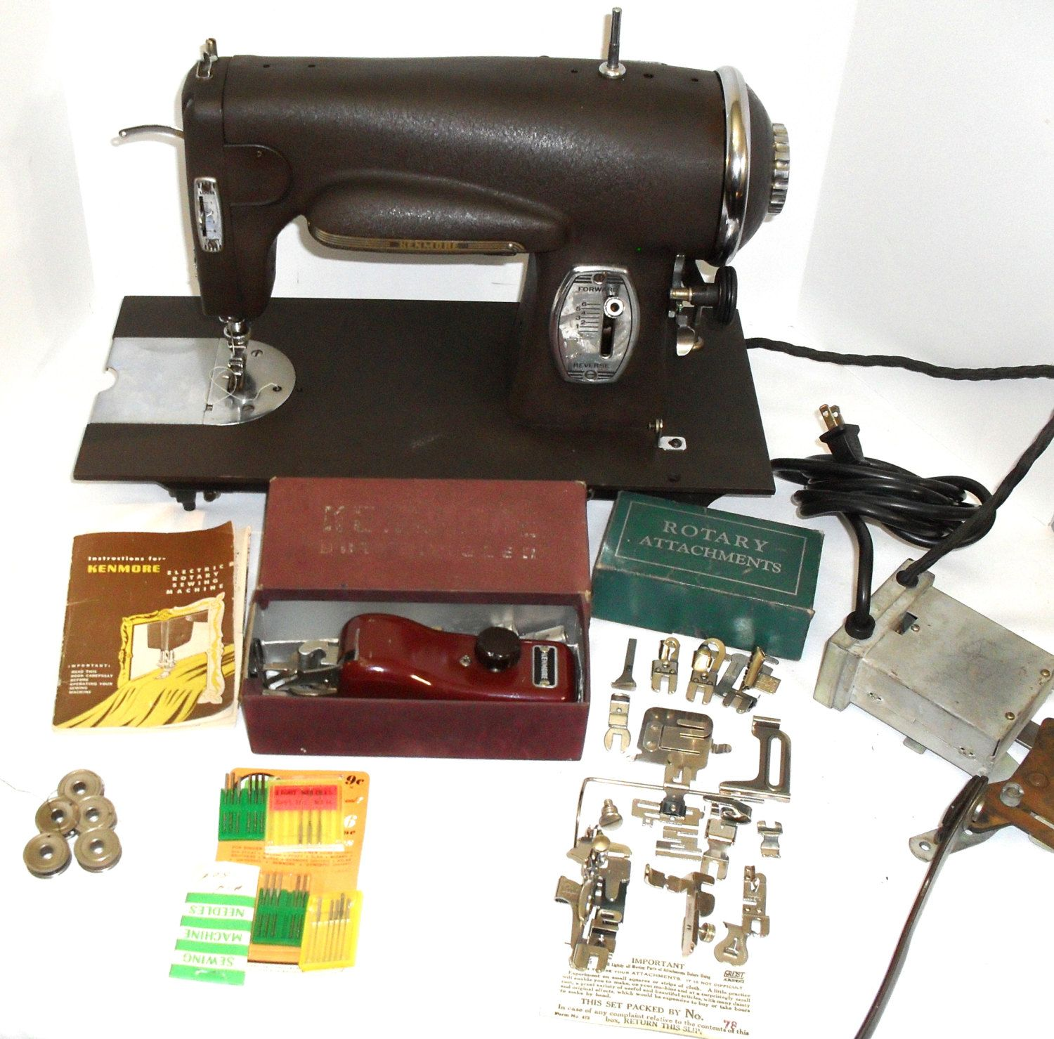 hight resolution of 1940s kenmore 95 rotary heavy duty sewing machine model 117 959 w buttonholer manual needles bobbins and attachments serviced ready to sew by