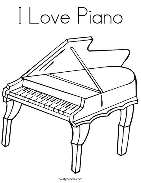I Love Piano Coloring Page Twisty Noodle Piano, Violin