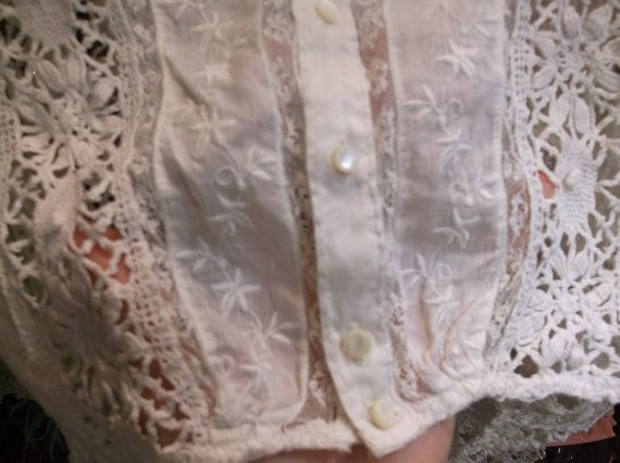 White Lace Antique Blouse by MossyRoseCB on Etsy