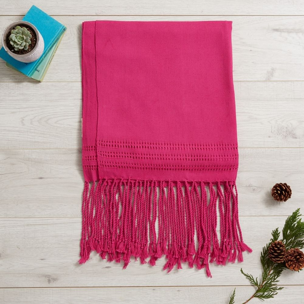 Blanket Scarf Throw 49 GBP  ·       Ethically sourced from Oaxaca,          Mexico  ·       Handmade on a wooden loom  ·       L: 210 cm (plus fringes)   W: 70           cm   ·       100% Thick Mexican Cotton  ·       Other uses: table runner, throw,          bed runner  Made from soft yet super thick cotton, this Mexican rebozo is perfect as an oversized scarf, a warm wrap or an elegant throw. The weave is super thick yet soft.