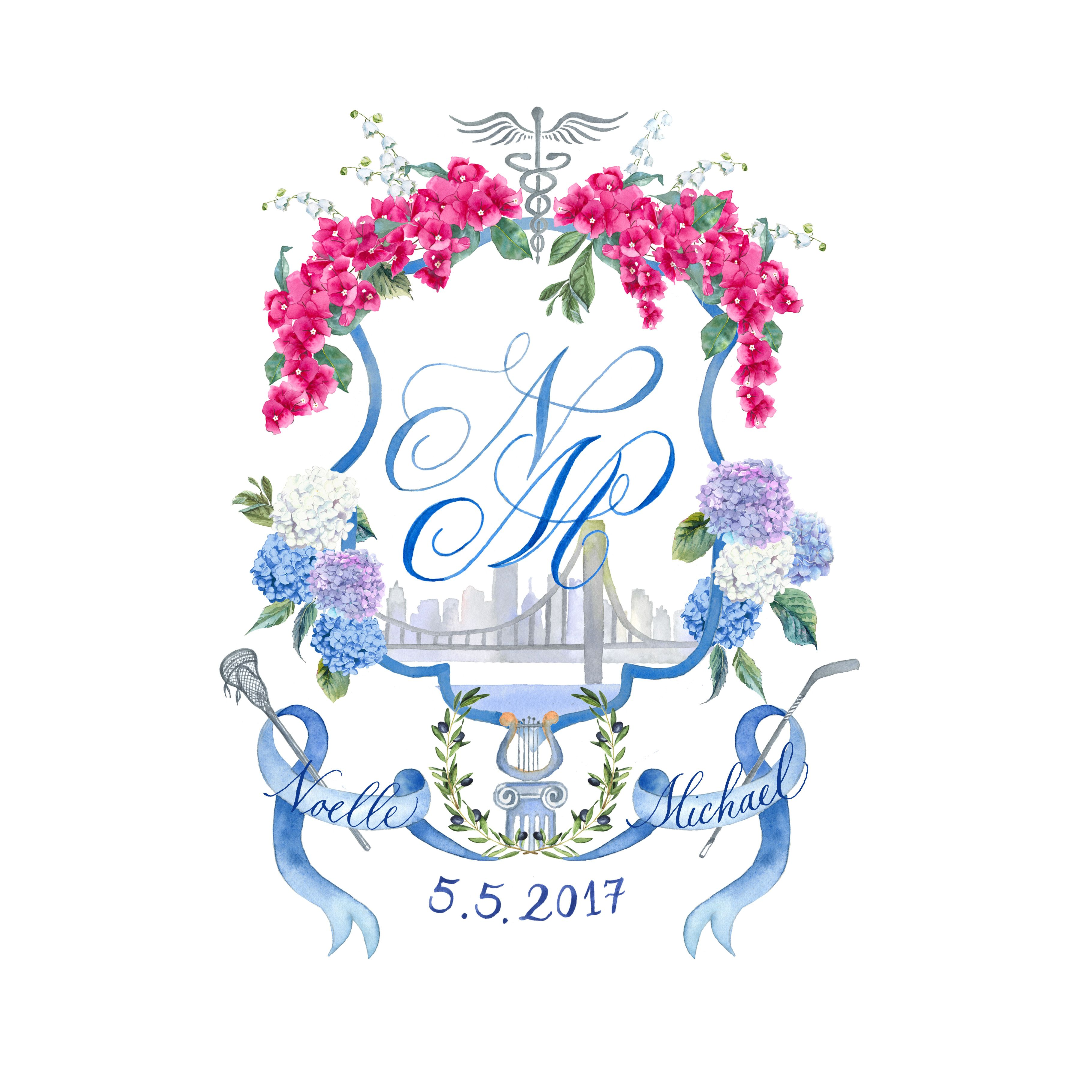 Watercolor Wedding Crest Lemontree Calligraphy Illustration