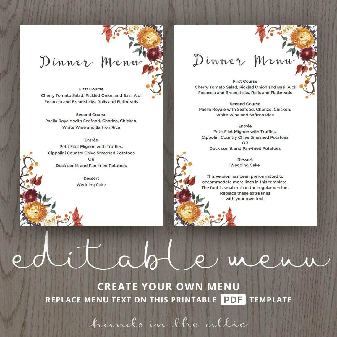 Fall Wedding Dinner Menu Template