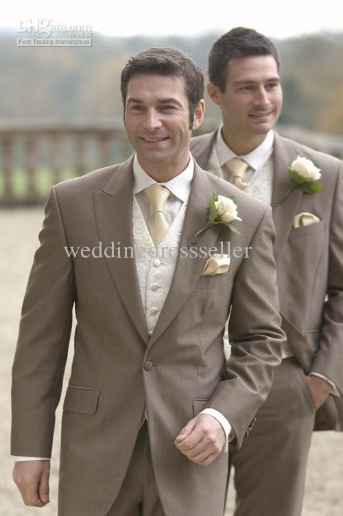 Dark Khaki tuxedos for wedding Bridal Groom men Suits Best Men\'s ...