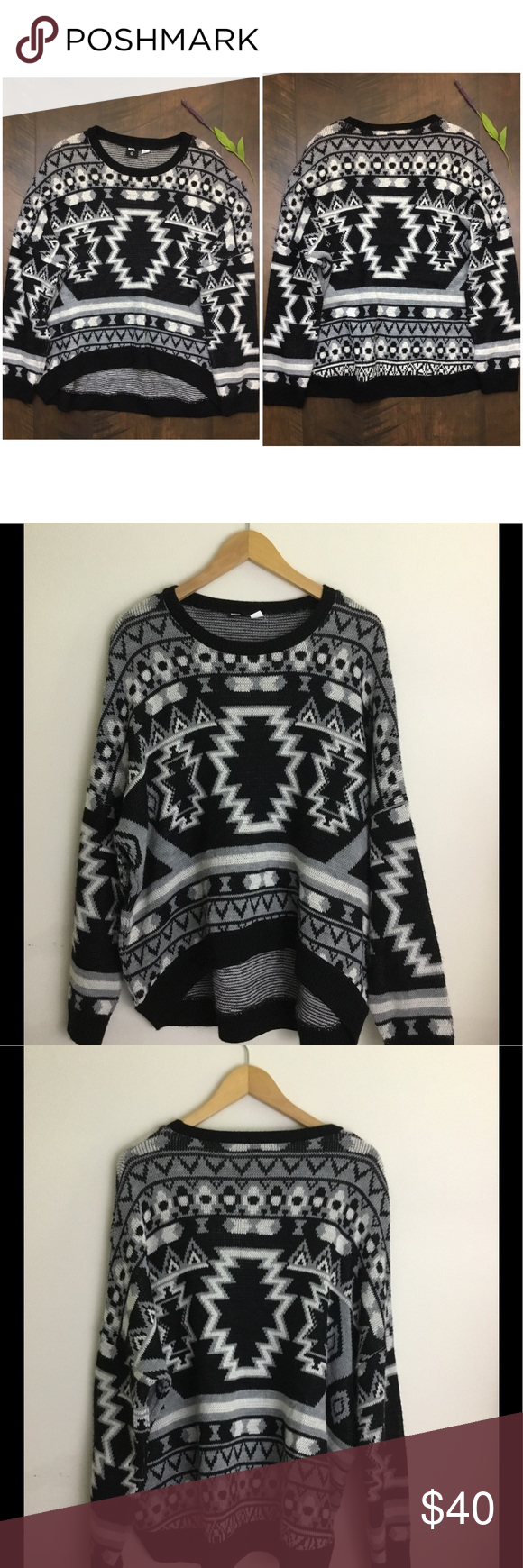 BDG Tribal Print Slouchy Oversized Sweater | Slouchy sweater ...