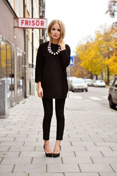 black on black with statement necklace: LOVE this.