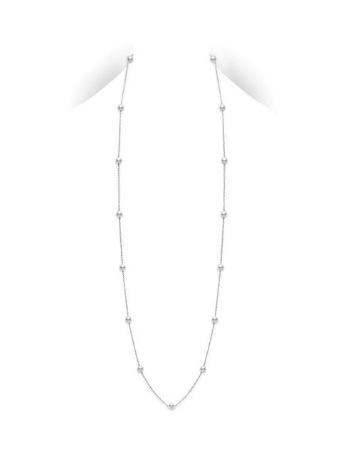 """Station Necklace 32"""" - White Gold  6mm, A+ Quality, Akoya cultured pearl necklace in 18k gold chain. The necklace is 32-inch long, it can also be worn doubled."""