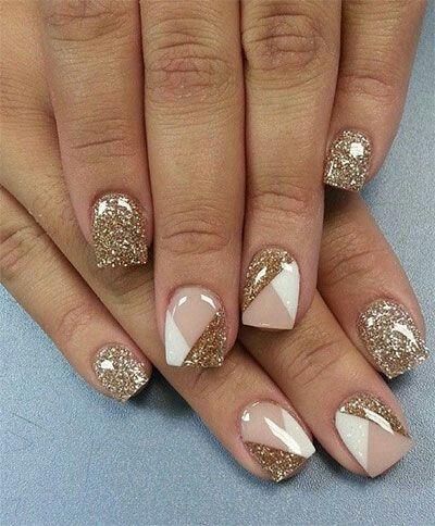 Дизайн ногтей с блестками квадратные