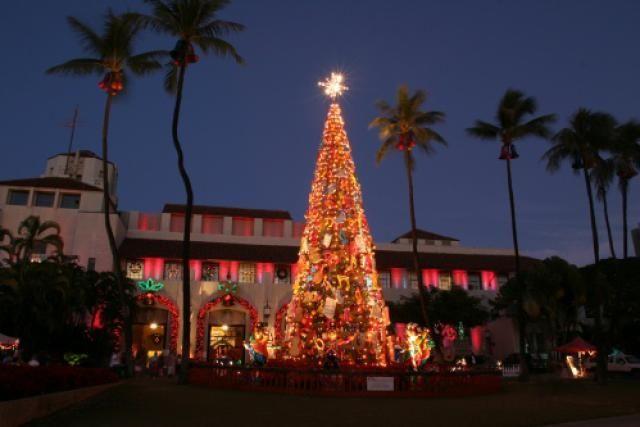 Honolulu City Lights Honolulu Hale (City Hall) hawaii style