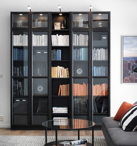 ikea billy bokhylla oxberg glasd rrar home office pinterest haus ideen. Black Bedroom Furniture Sets. Home Design Ideas