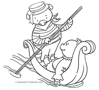 Dulemba Coloring Page Tuesday Pig In A Gondola Coloring Pages